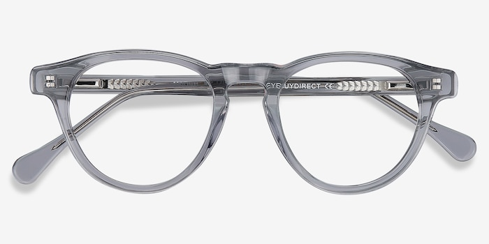 Marine Clear Gray Acetate Eyeglass Frames from EyeBuyDirect, Closed View