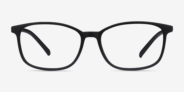 Median Black Plastic Eyeglass Frames from EyeBuyDirect, Front View