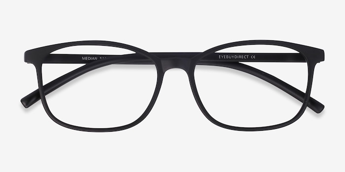 Median Black Plastic Eyeglass Frames from EyeBuyDirect, Closed View