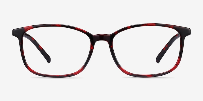 Median Red Floral Plastic Eyeglass Frames from EyeBuyDirect, Front View