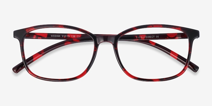 Median Red Floral Plastic Eyeglass Frames from EyeBuyDirect, Closed View