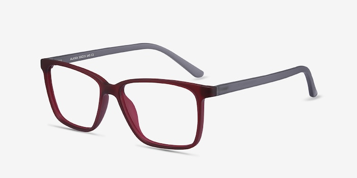 Alaska Red Plastic Eyeglass Frames from EyeBuyDirect, Angle View