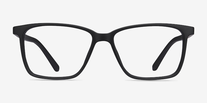 Alaska Black Plastic Eyeglass Frames from EyeBuyDirect, Front View