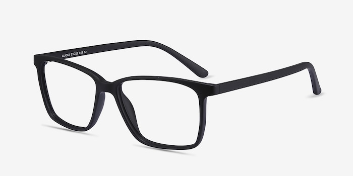 Alaska Black Plastic Eyeglass Frames from EyeBuyDirect, Angle View
