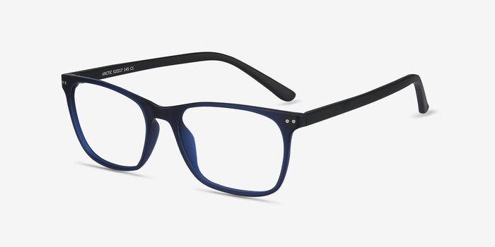 Arctic Blue Plastic Eyeglass Frames from EyeBuyDirect, Angle View