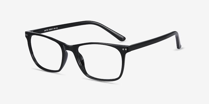 Arctic Black Plastic Eyeglass Frames from EyeBuyDirect, Angle View