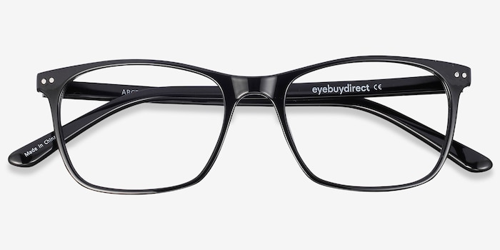 Arctic Black Plastic Eyeglass Frames from EyeBuyDirect, Closed View