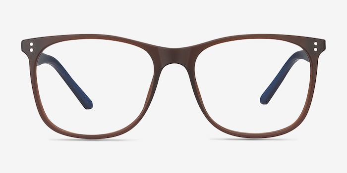 Mystery Brown Plastic Eyeglass Frames from EyeBuyDirect, Front View