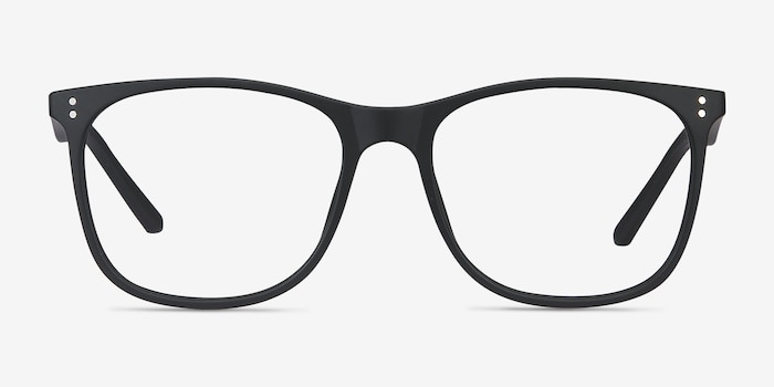 Mystery Black Plastic Eyeglass Frames from EyeBuyDirect, Front View