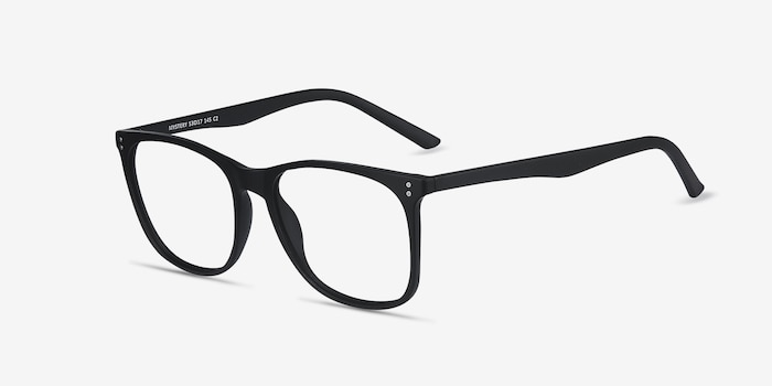 Mystery Black Plastic Eyeglass Frames from EyeBuyDirect, Angle View