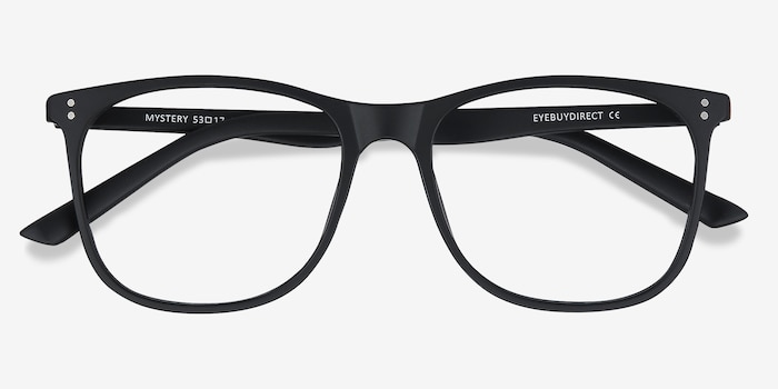 Mystery Black Plastic Eyeglass Frames from EyeBuyDirect, Closed View