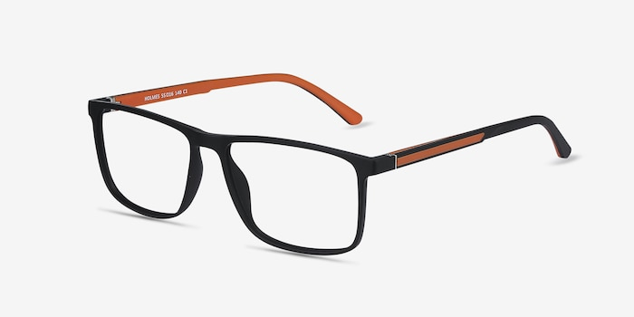 Holmes Black Plastic Eyeglass Frames from EyeBuyDirect, Angle View