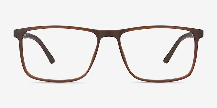 Holmes Brown Plastic Eyeglass Frames from EyeBuyDirect, Front View