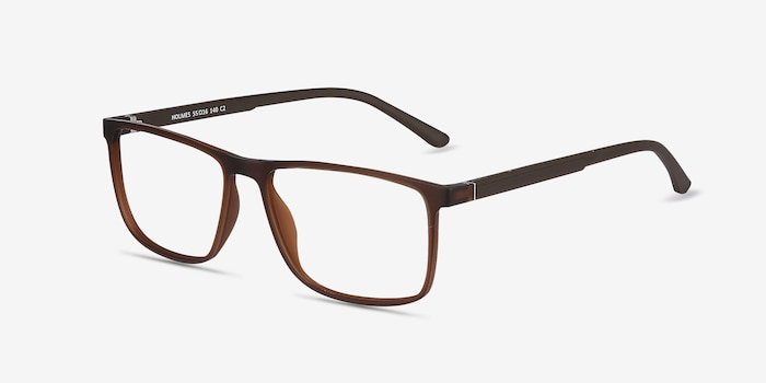 Holmes Brown Plastic Eyeglass Frames from EyeBuyDirect, Angle View