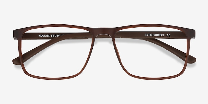 Holmes Brown Plastic Eyeglass Frames from EyeBuyDirect, Closed View