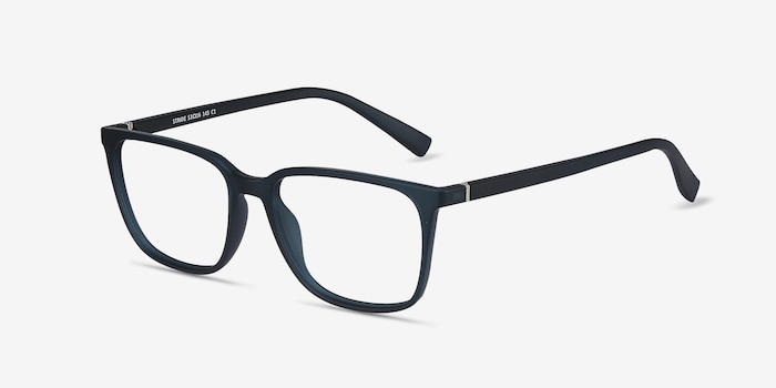 Stride Navy Plastic Eyeglass Frames from EyeBuyDirect, Angle View