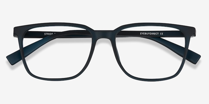 Stride Navy Plastic Eyeglass Frames from EyeBuyDirect, Closed View