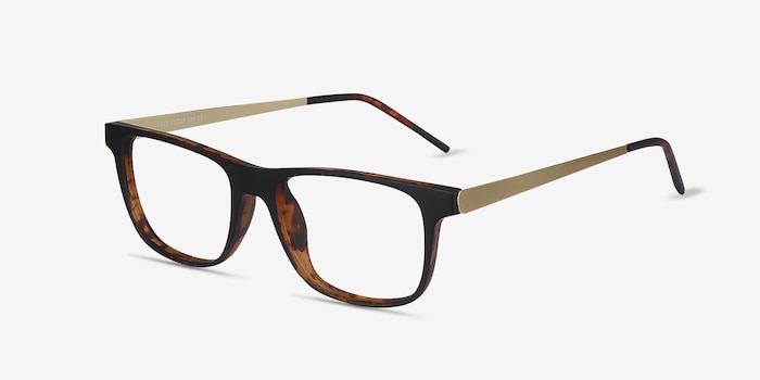 Karat Tortoise Metal Eyeglass Frames from EyeBuyDirect, Angle View