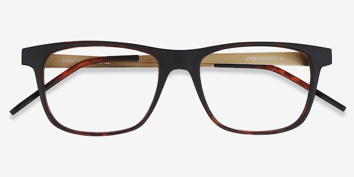 Karat Tortoise Metal Eyeglass Frames from EyeBuyDirect, Closed View
