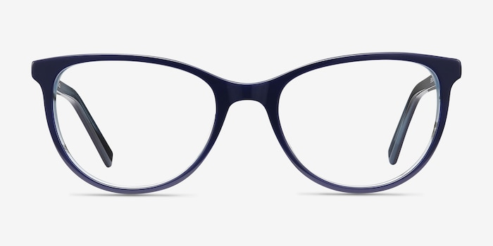 Sphinx Blue Striped Acetate Eyeglass Frames from EyeBuyDirect, Front View