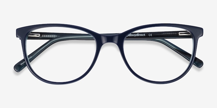 Sphinx Blue Striped Acetate Eyeglass Frames from EyeBuyDirect, Closed View