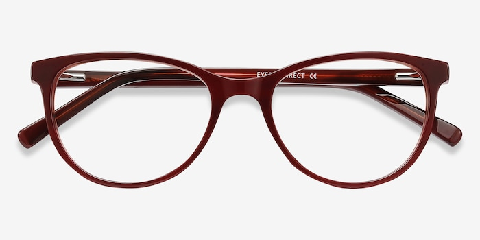 Sphinx Red Striped Acetate Eyeglass Frames from EyeBuyDirect, Closed View