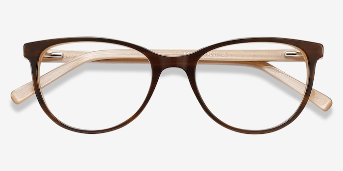 Sphinx Striped Acetate Eyeglass Frames from EyeBuyDirect, Closed View