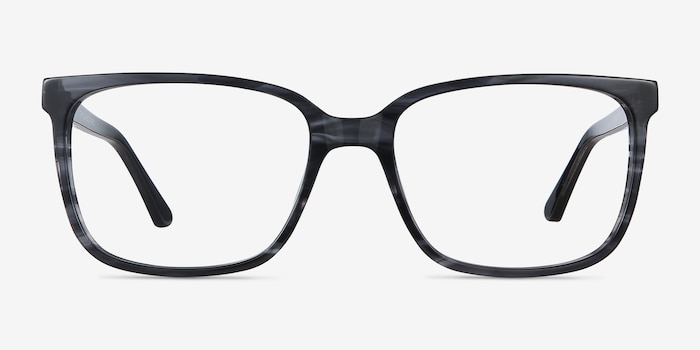 Formula Gray Striped Acetate Eyeglass Frames from EyeBuyDirect, Front View