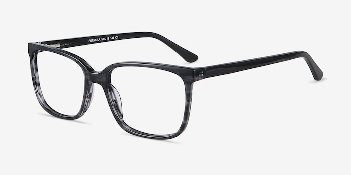 Formula Gray Striped Acetate Eyeglass Frames from EyeBuyDirect, Angle View