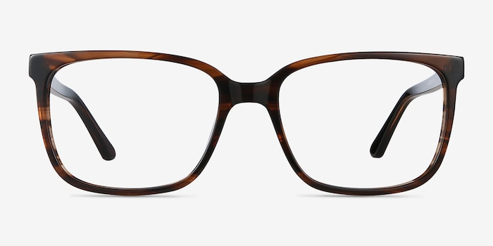 Formula Brown Striped Acetate Eyeglass Frames from EyeBuyDirect, Front View