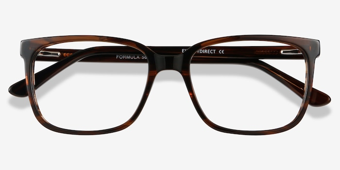 Formula Brown Striped Acetate Eyeglass Frames from EyeBuyDirect, Closed View