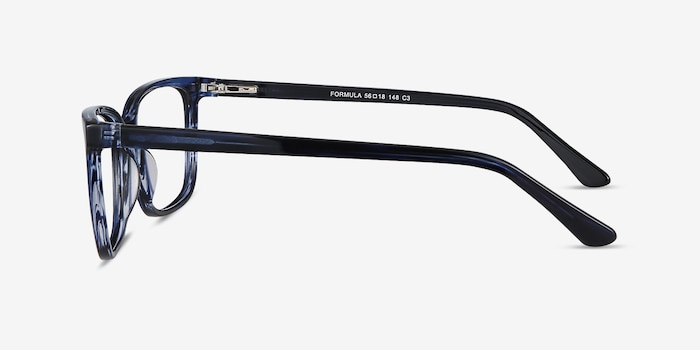 Formula Blue Striped Acetate Eyeglass Frames from EyeBuyDirect, Side View