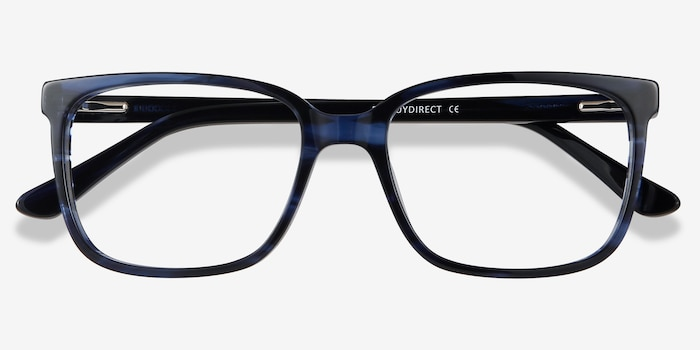 Formula Blue Striped Acetate Eyeglass Frames from EyeBuyDirect, Closed View