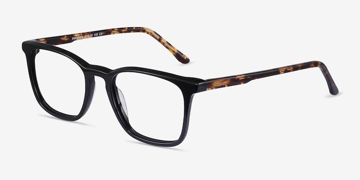 Phoenix Black Tortoise Acétate Montures de Lunettes d'EyeBuyDirect, Vue d'Angle