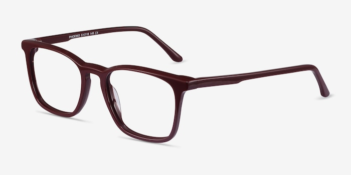 Phoenix Burgundy Acetate Eyeglass Frames from EyeBuyDirect, Angle View
