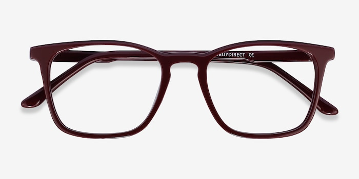 Phoenix Burgundy Acetate Eyeglass Frames from EyeBuyDirect, Closed View