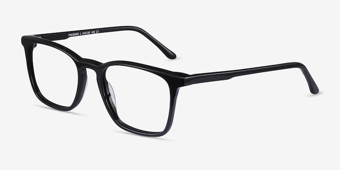 Phoenix Black Acetate Eyeglass Frames from EyeBuyDirect, Angle View