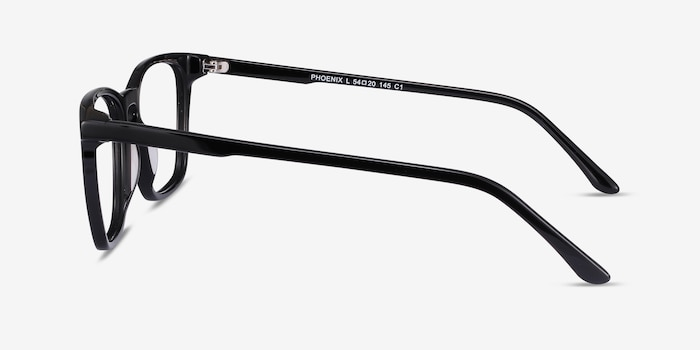 Phoenix Black Acetate Eyeglass Frames from EyeBuyDirect, Side View