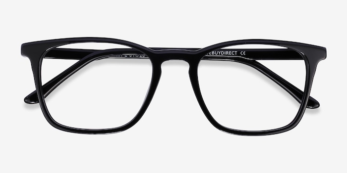 Phoenix Black Acetate Eyeglass Frames from EyeBuyDirect, Closed View