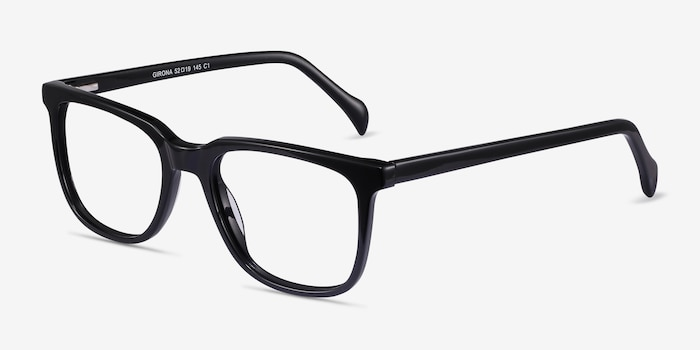 Girona Black Acetate Eyeglass Frames from EyeBuyDirect, Angle View