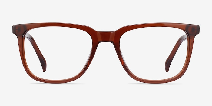 Girona Brown Acetate Eyeglass Frames from EyeBuyDirect, Front View