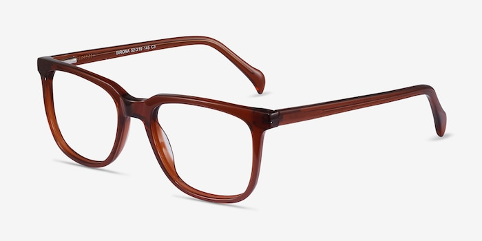 Girona Brown Acetate Eyeglass Frames from EyeBuyDirect, Angle View