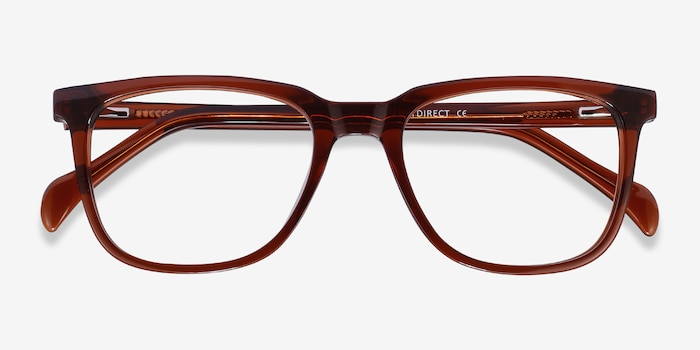 Girona Brown Acetate Eyeglass Frames from EyeBuyDirect, Closed View
