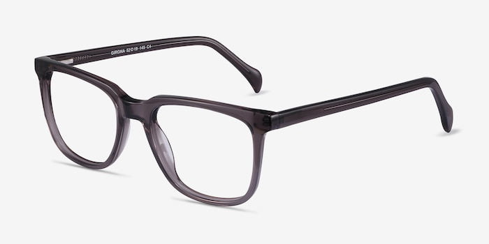 Girona Gray Acetate Eyeglass Frames from EyeBuyDirect, Angle View