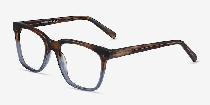 Jamie Brown Striped Acetate Eyeglass Frames from EyeBuyDirect, Angle View