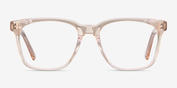 Jamie Clear Brown Acetate Eyeglass Frames from EyeBuyDirect, Front View