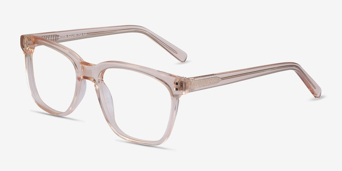 Jamie Clear Brown Acetate Eyeglass Frames from EyeBuyDirect, Angle View