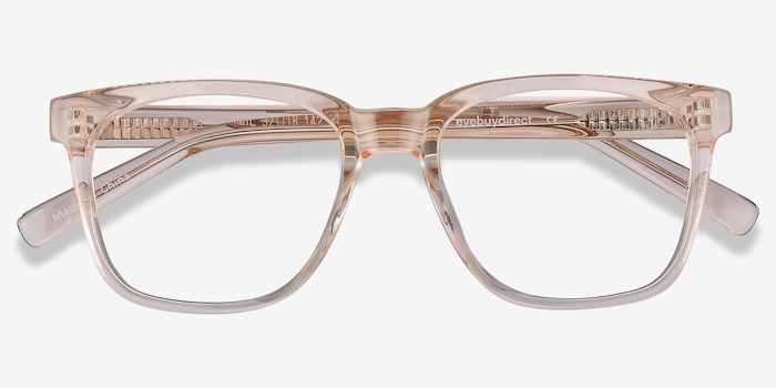 Jamie Clear Brown Acetate Eyeglass Frames from EyeBuyDirect, Closed View