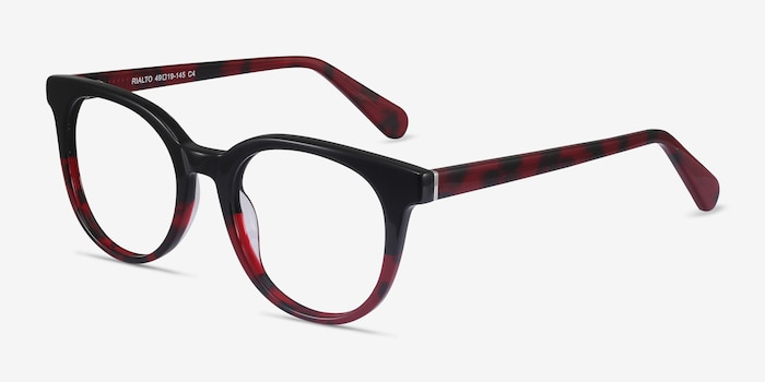 Rialto Black Red Acetate Eyeglass Frames from EyeBuyDirect, Angle View