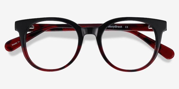 Rialto Black Red Acetate Eyeglass Frames from EyeBuyDirect, Closed View